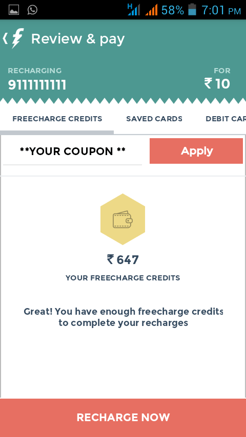 Paytm or freecharge coupons