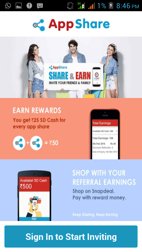 bd69b3941 ... Rs SD cash for every download. snapdeal refer and earn