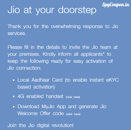jio at your doorsteps