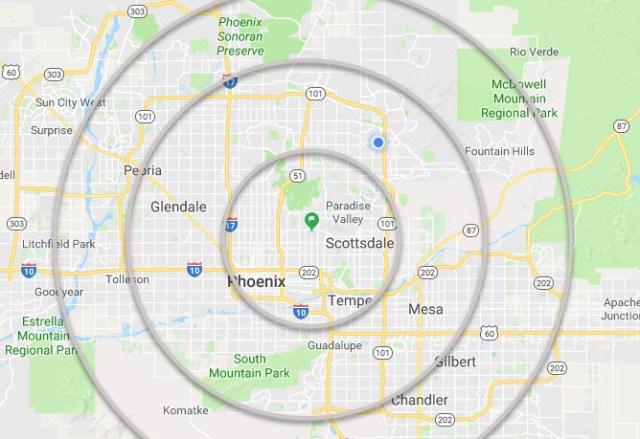 mostrando una posizione mirata su una mappa