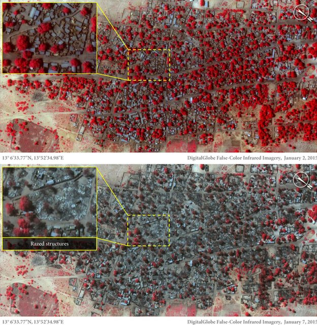 Amnesty said a satellite picture of Doron Baga taken on 7 January (bottom) showed the devastation
