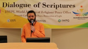 Guru Yogi Matsyendranath, a Hindu leader is giving his speech about peace spoken inreligious scripture