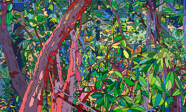 "Forest Painting, acrylic on canvas, 31"" x 51"", 1976"