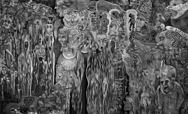 """In Possum's Cavern"" a digital decalcomania drawing"