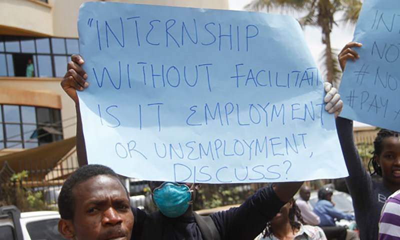 INTERN DOCTORS STRIKE OVER DELAYED ALLOWANCES, IN ADQUATE MEDICAL SUPPLIES.