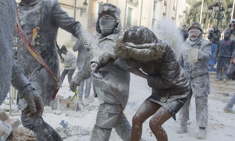 Spain Celebrates Holy Innocents' Day With Egg & Flour Fights