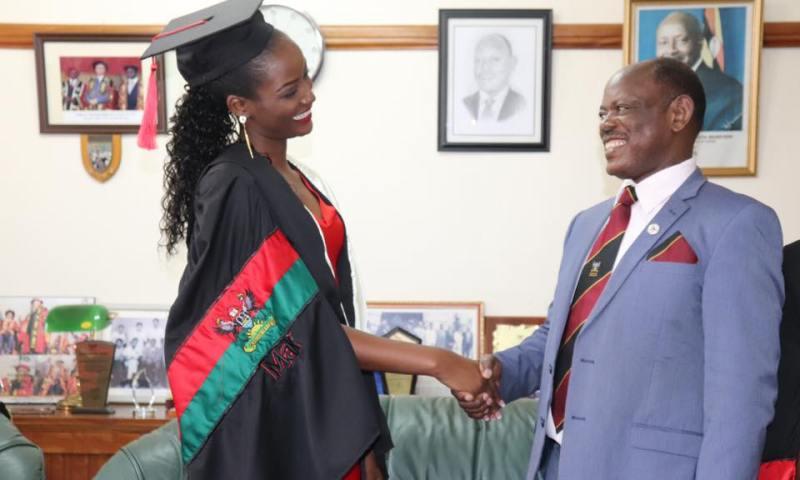 Miss World Africa Quiin Abenakyo Excites MUK VC Prof. Nawangwe