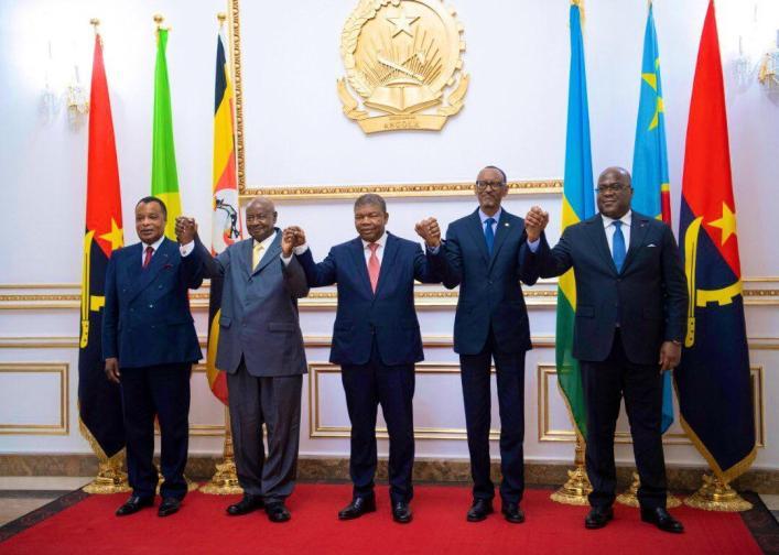 Presidents Sassou Nguesso, Yoweri Museveni,  Joao Manuel Lourenco, Paul Kagame and Felix Tshisekedi in Angola