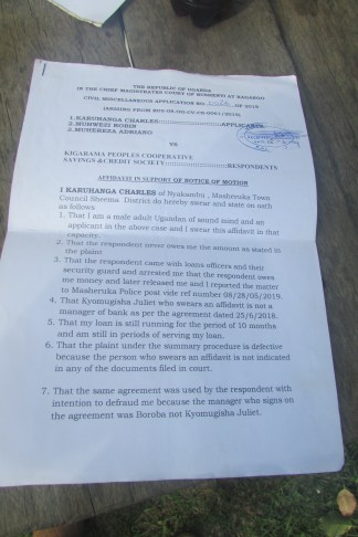 Suit filed against Kigarama Peoples SACCO