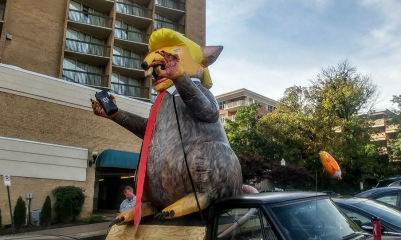 Protesters Inflate Massive 'Trump Rat' In Baltimore Ahead Of President's Visit