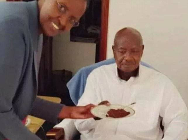 Mama Janet Serves President Museveni Yellow Cake At 75th Birthday Bash