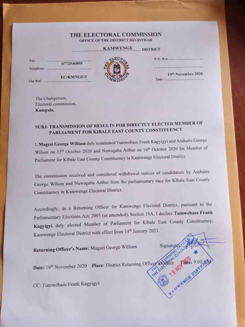Just In: Jubilant Frank Tumwebaze Declared Unopposed For Kibale East!