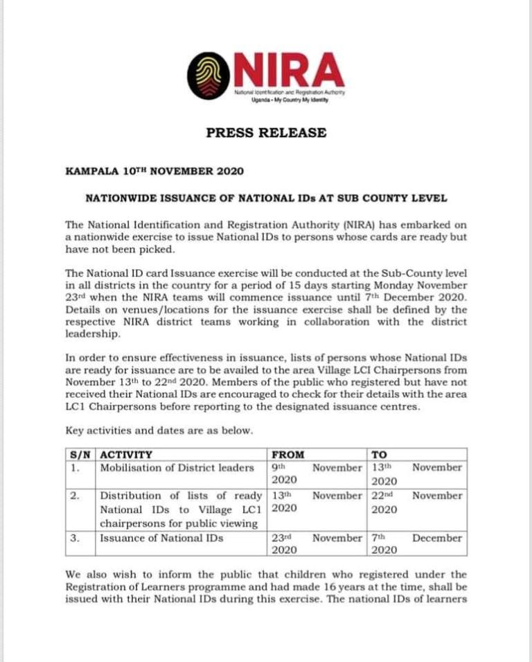 NIRA Kicks Off Issuance Of National IDs At Sub-County Levels