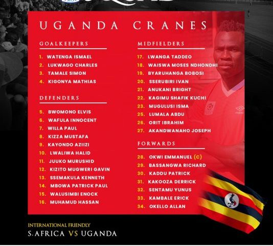 International Friendly: Uganda Cranes Squad Summoned For Clash With South Africa, Okwi Named Captain