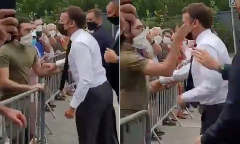 Furious Man Gives Hot Slap To France President Macron During Walkout
