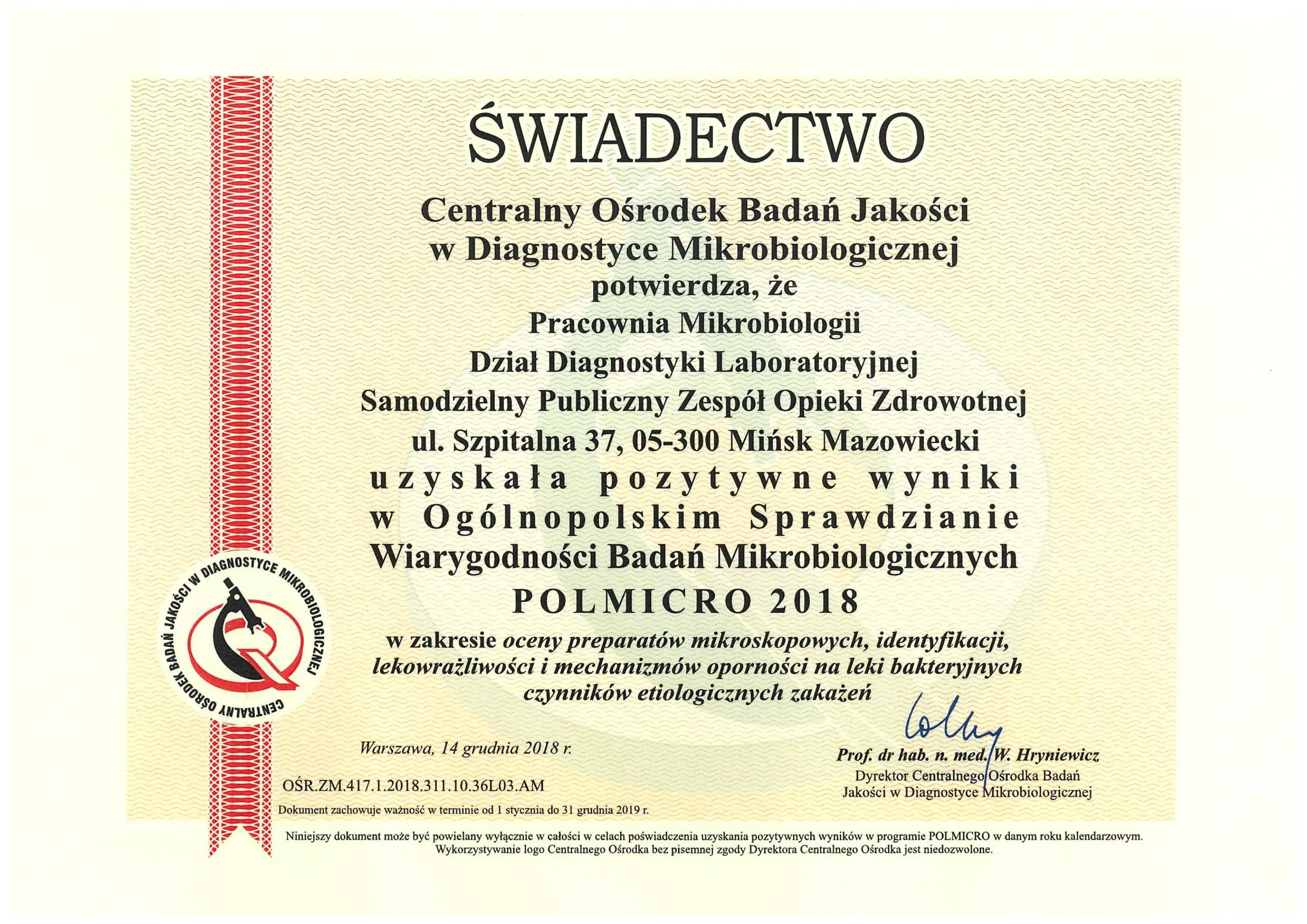 Certyfikat wiarygodności badań w Mikrobiologii