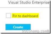 Pin to dashboard SQLAzure DB