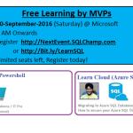 Azure learnings 10-Sept-2016 | Gurgaon