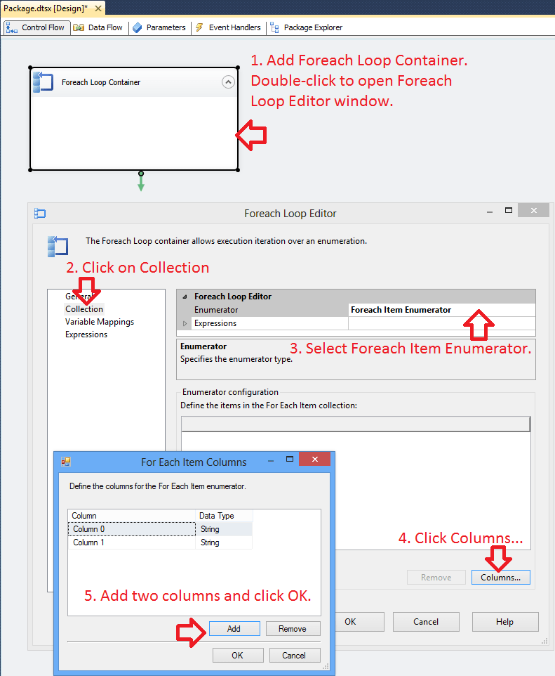 Example of SSIS Foreach Loop Item Enumerator and Dynamic OLEDB