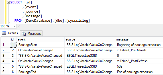 Log SSIS Variable Value 10 - Log Entries 2