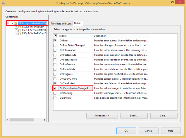 Log SSIS Variable Value 44 - Configure Log
