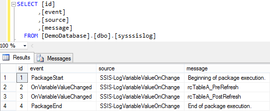 Log SSIS Variable Value 7 - Log Entries 2