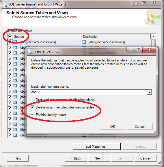 Select all tables and reinsert rows