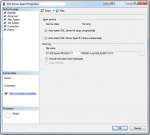SQL Server Agent Properties - General