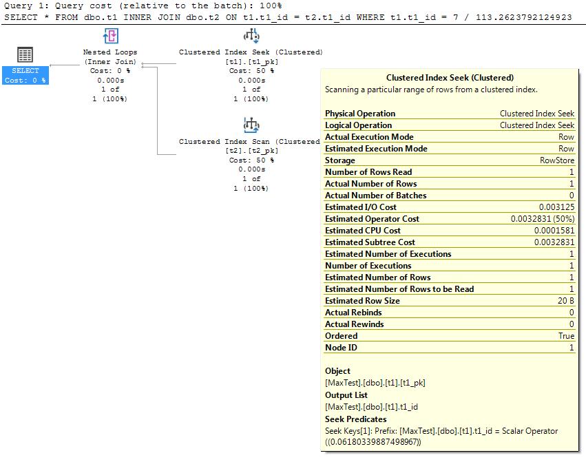 Non-auto-parameterized query plan