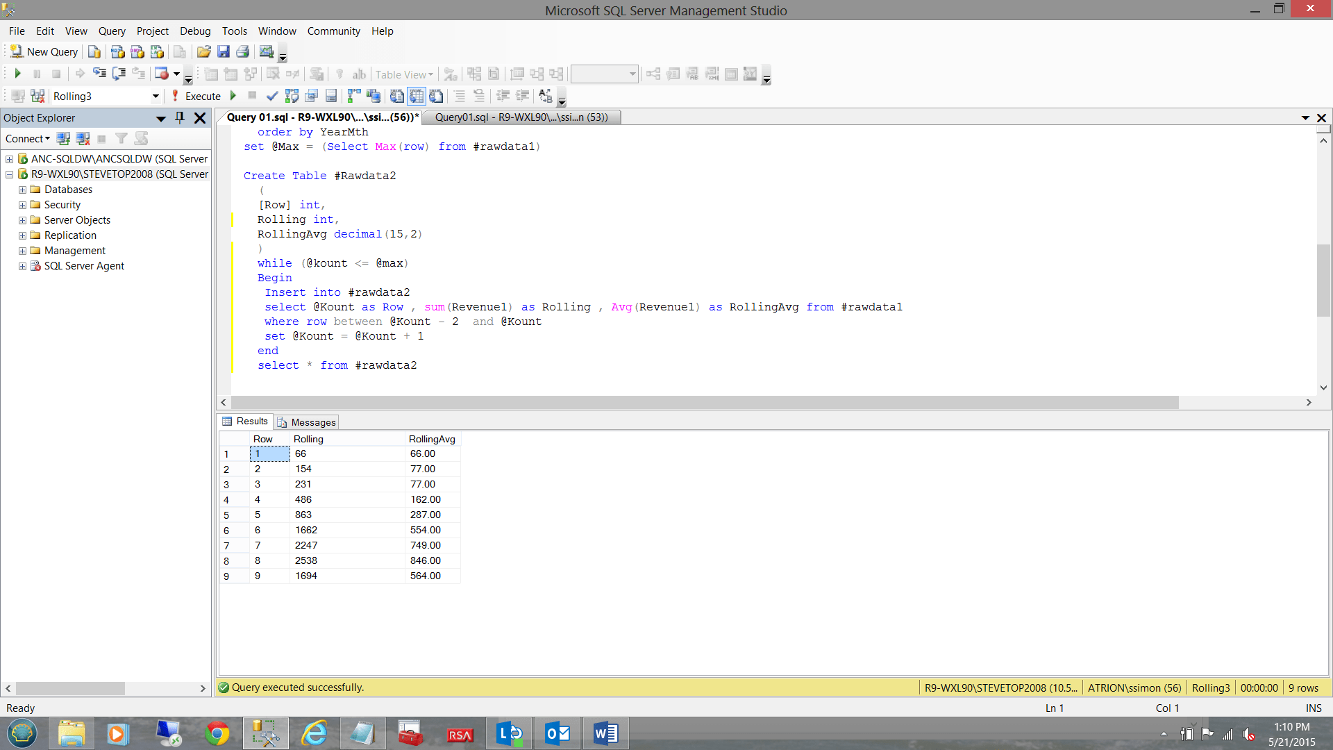 Using The Row Number Function And A While Loop To Create The Rolling Average Report