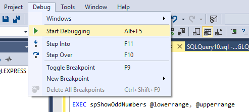 Start debugging a stored procedure in SQL