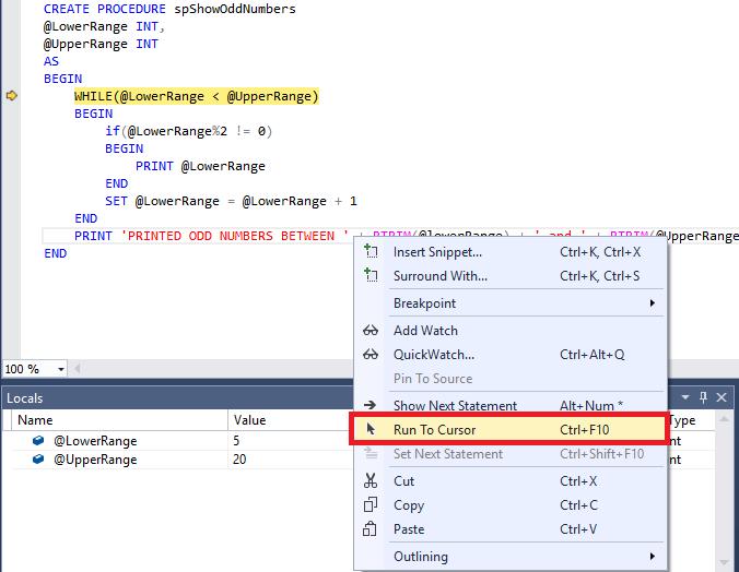 SQL Server debugging - Run to cursor