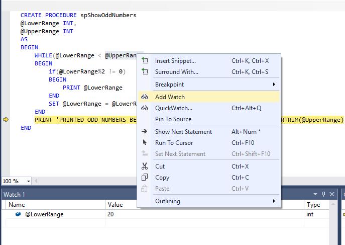 SQL Server debugging in SSMS - adding a watch