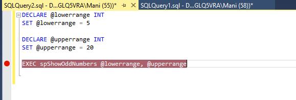 SQL Server debugging in SSMS - Break points