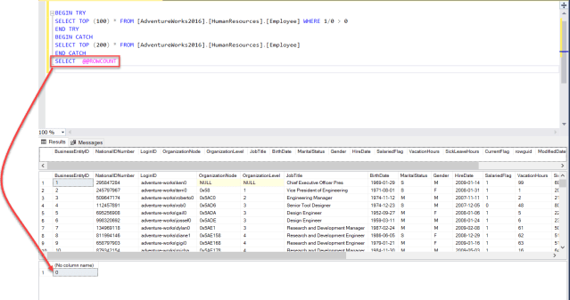 Working with SQL Server ROWCOUNT