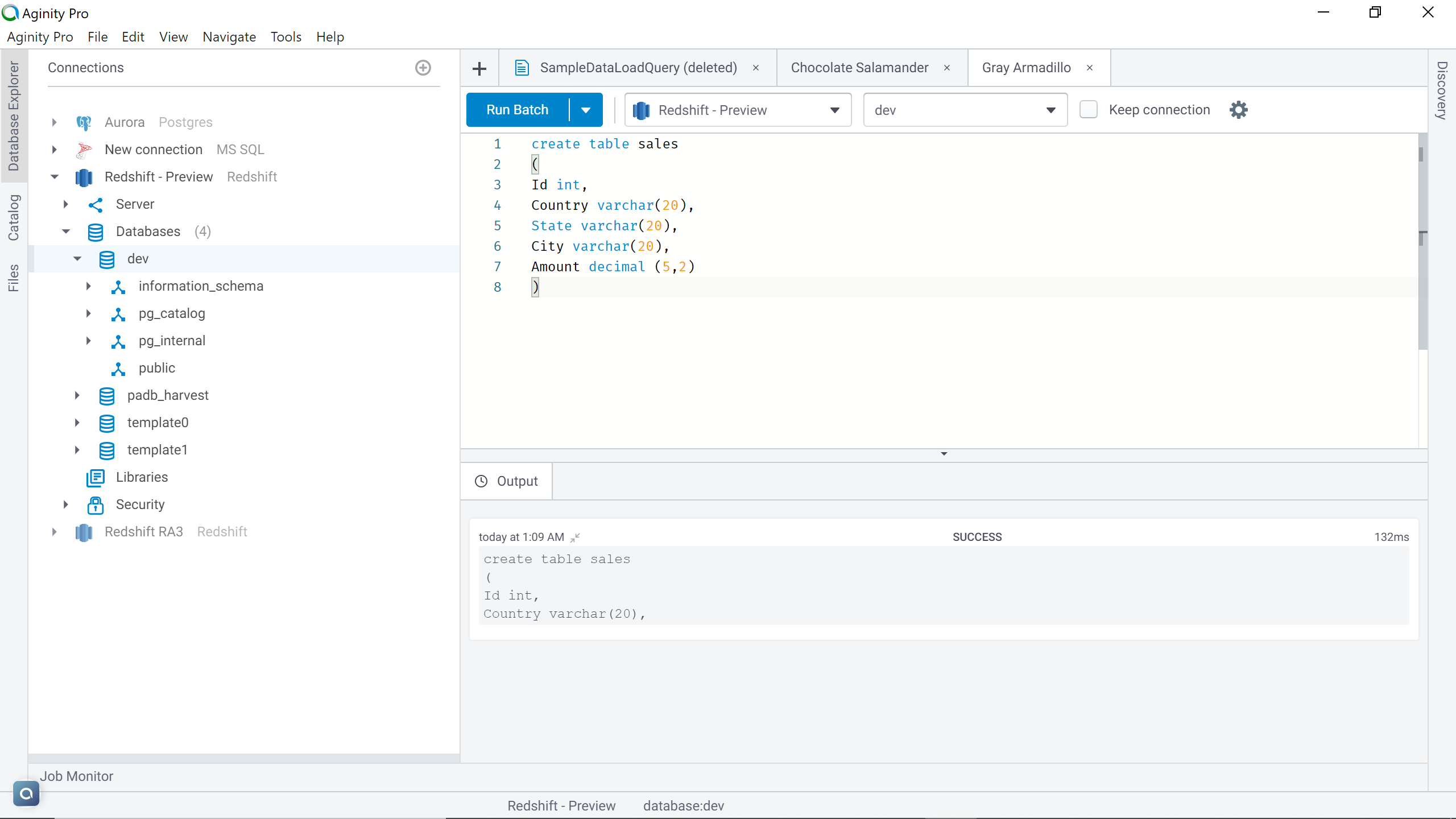 Amazon Redshift table