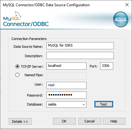 Configure MySQL ODBC data source