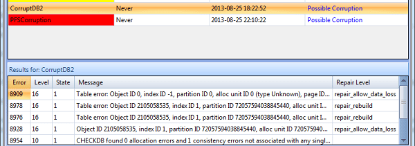 Corrupt Clustered Index via Idera's free tool SQL Integrity Check