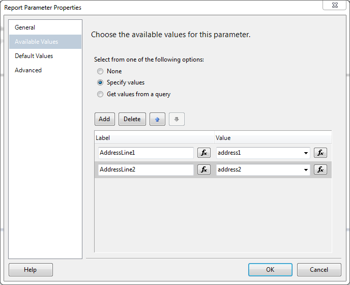 Add Parameter Available Values