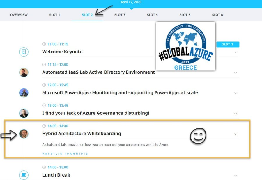 my session on Global Azure schedule
