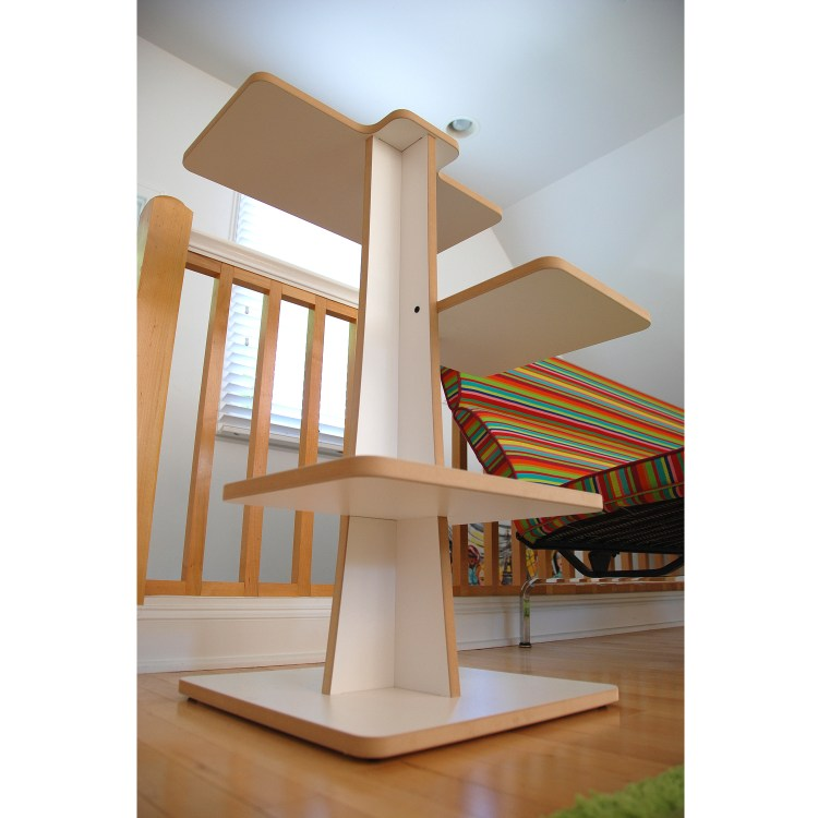 View of white modern cat tree from below