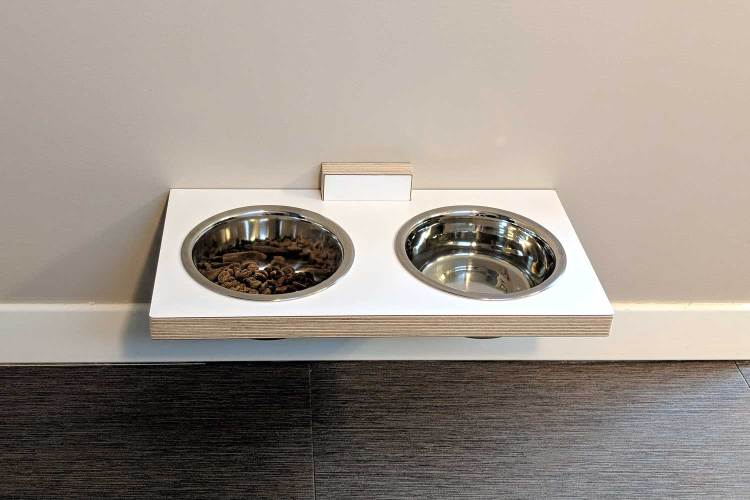 chow meow modern elevated cat bowls in white laminated birch