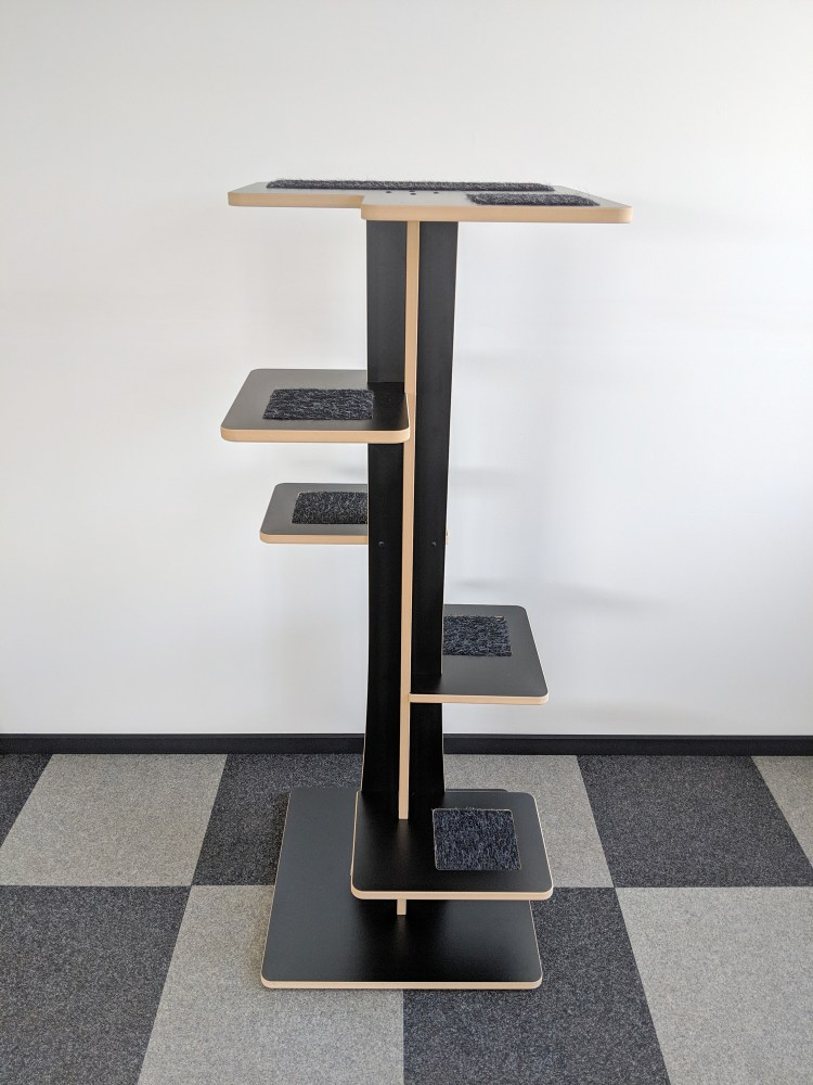 Baobab modern cat tower in black SDF with black cat inserts