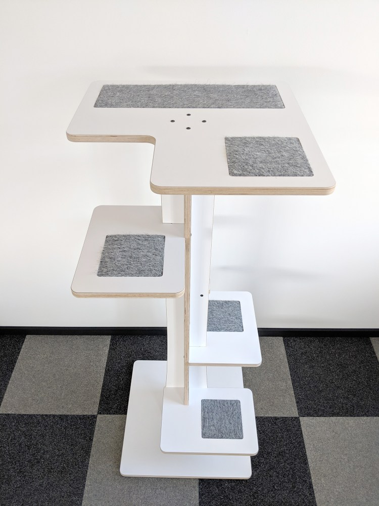 Baobab modern cat tower in white birch and chinchilla inserts shot from above