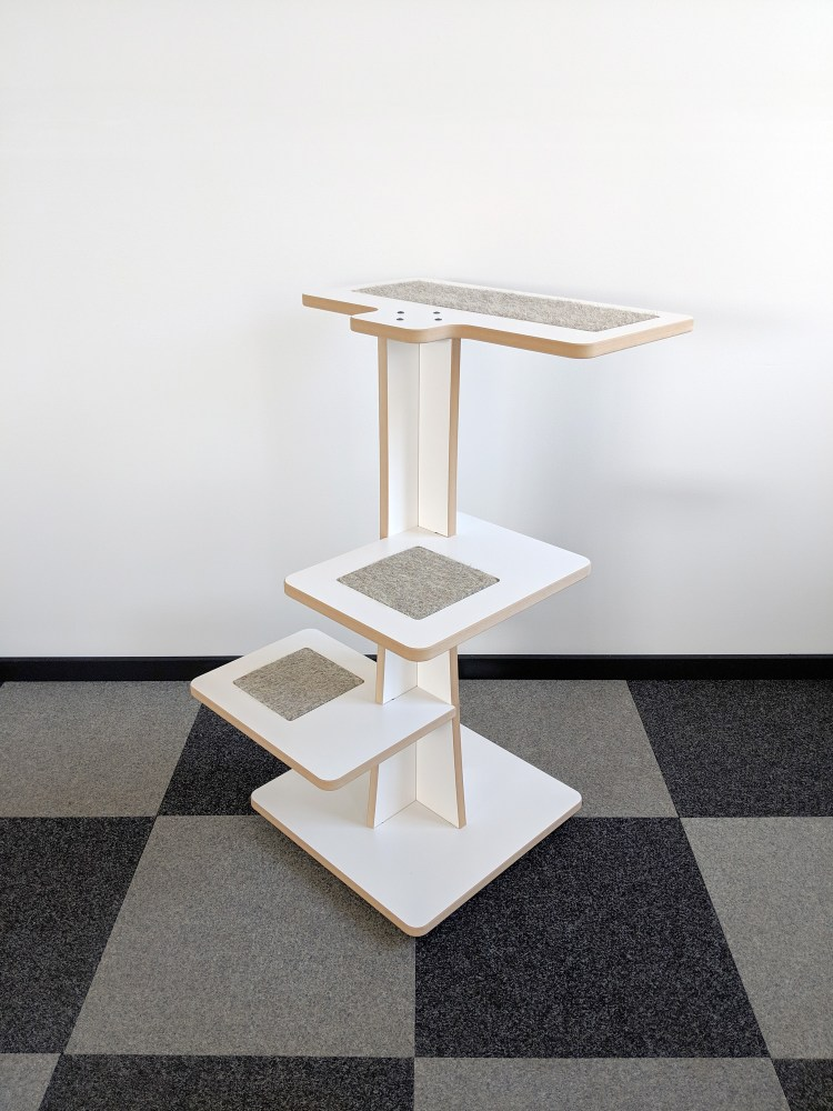 Acacia modern cat tree in white SDF and hamster inserts 360-8
