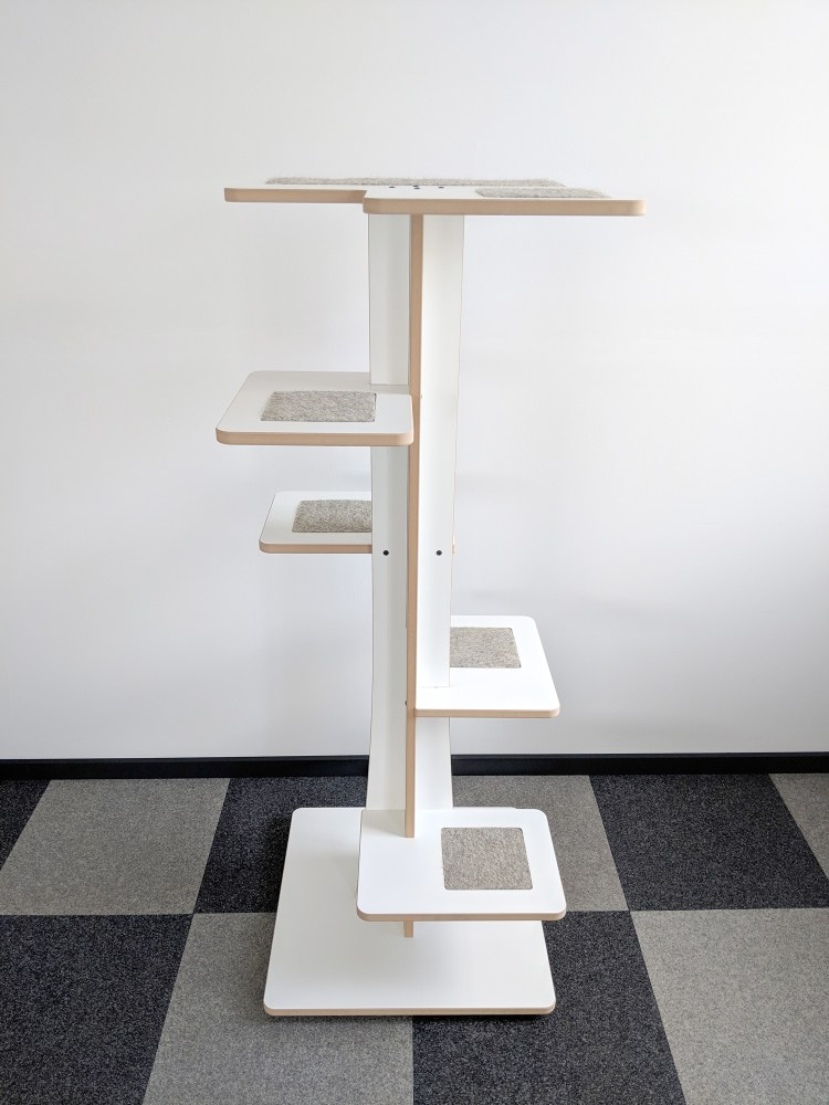 Modern cat tower in white SDF and hamster inserts 360-1