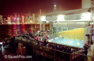 Squash court erected by Hong Kong harbour for 2003 Womens World Open