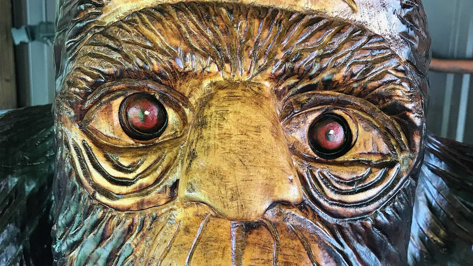 Wood carving of Bigfoot