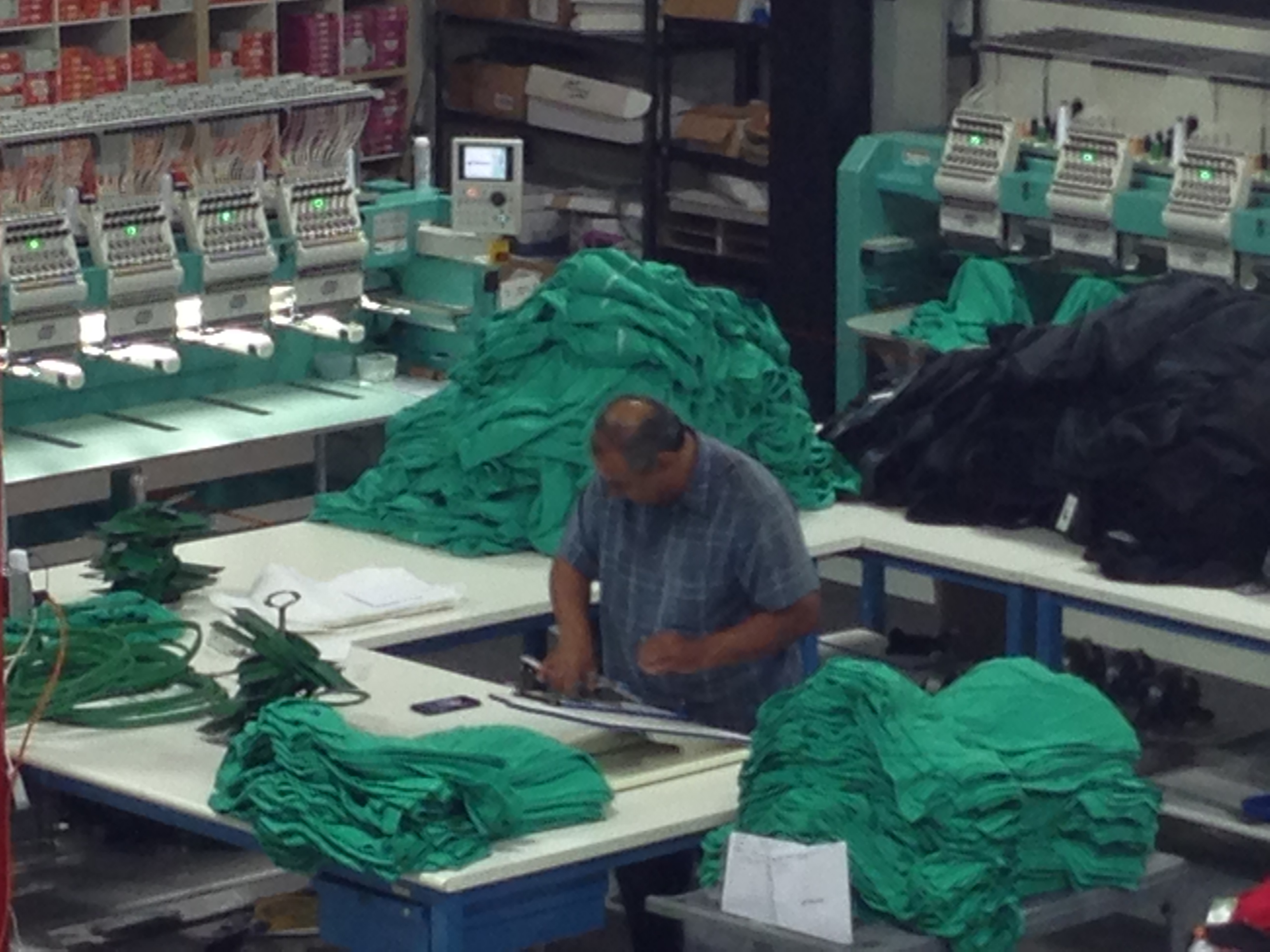 Busy embroidery Department at Threadworkz
