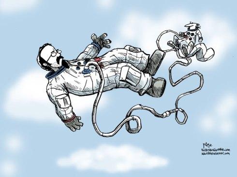 floating falling astronaut squirrel